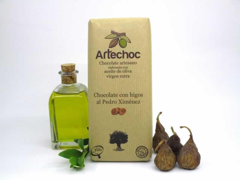 Tableta de chocolate negro artesano con aceite de oliva virgen extra (AOVE) e higos al vino Pedro Ximénez. Sin gluten. Artechoc