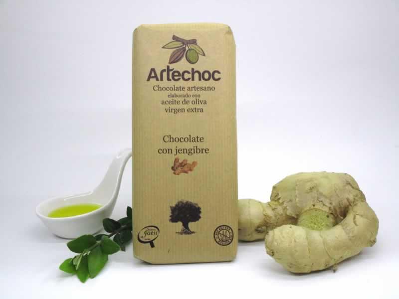 Artechoc. Chocolate negro artesano elaborado con aceite de oliva virgen extra (AOVE) y jengibre. Sin gluten