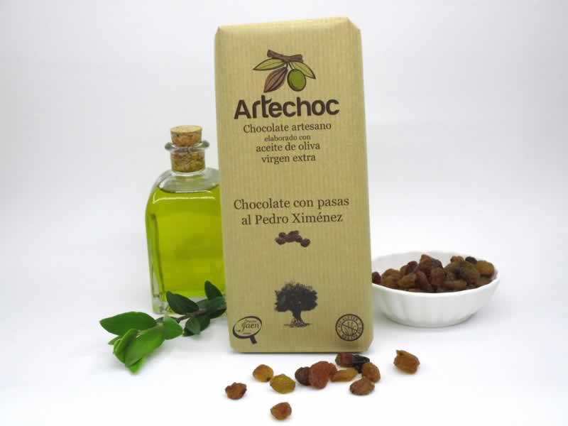 Tableta de chocolate negro artesano con aceite de oliva virgen extra (AOVE) y pasas al vino Pedro Ximénez. Sin gluten. Artechoc