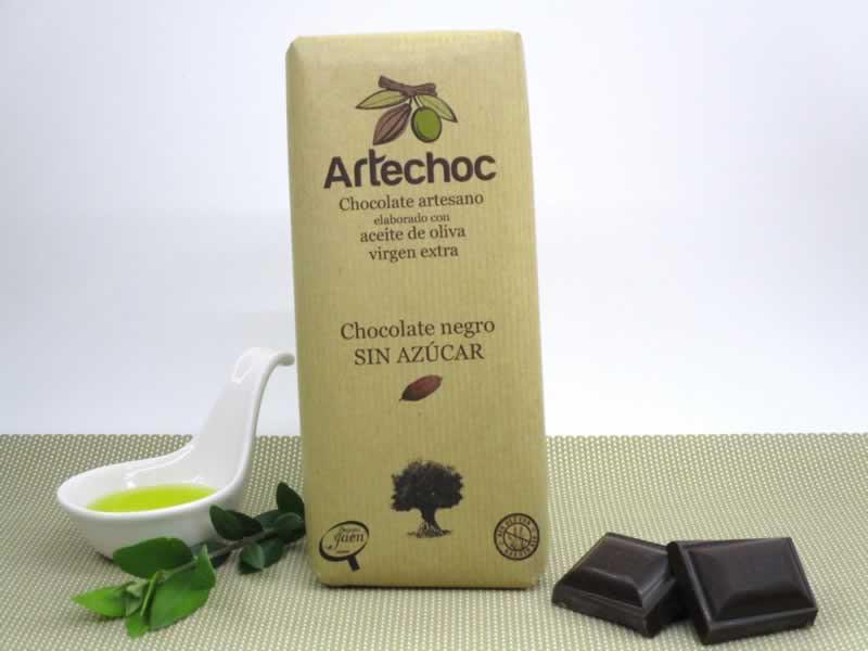 Tableta de chocolate negro artesano con aceite de oliva virgen extra (AOVE) y sin azúcar. Sin gluten. Artechoc